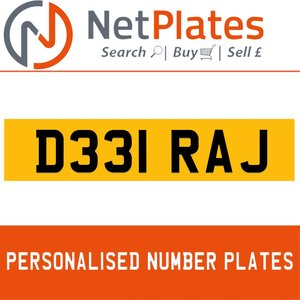 1900 D331 RAJ Private Number Plate from NetPlates Ltd For Sale