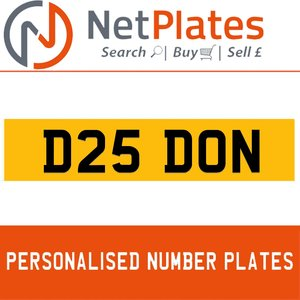 1900 D25 DON Private Number Plate from NetPlates Ltd For Sale