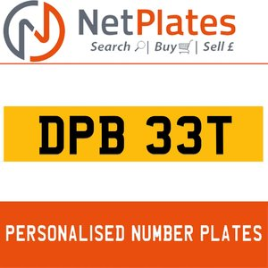 DPB 33T Private Number Plate from NetPlates Ltd