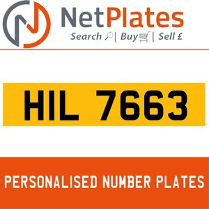 1900 HIL 7663 Private Number Plate from NetPlates Ltd For Sale