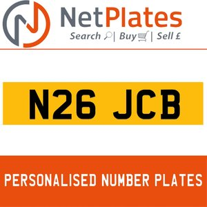 1900 N26 JCB Private Number Plate from NetPlates Ltd For Sale
