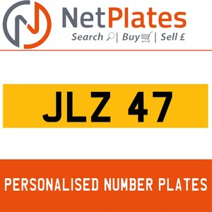 1900 JLZ 47 Private Number Plate from NetPlates Ltd For Sale