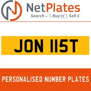 1900 JON 115T Private Number Plate from NetPlates Ltd For Sale