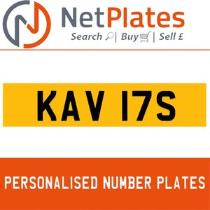 KAV 17S PERSONALISED PRIVATE CHERISHED DVLA NUMBER PLATE