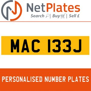MAC 133J PERSONALISED PRIVATE CHERISHED DVLA NUMBER PLATE