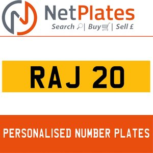 RAJ 20 PERSONALISED PRIVATE CHERISHED DVLA NUMBER PLATE