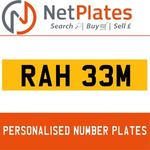 RAH 33M PERSONALISED PRIVATE CHERISHED DVLA NUMBER PLATE