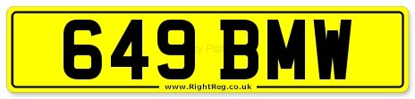 BMW Private Number Plate: 649 BMW