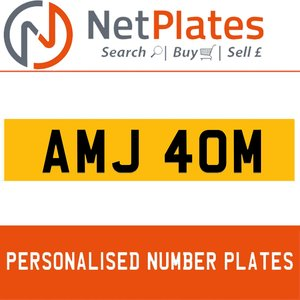 AMJ 40M PERSONALISED PRIVATE CHERISHED DVLA NUMBER PLATE