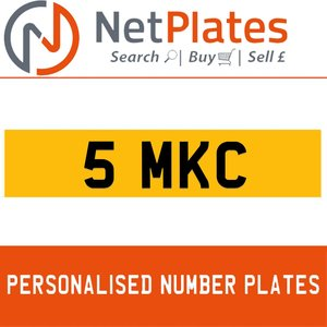 5 MKC PERSONALISED PRIVATE CHERISHED DVLA NUMBER PLATE