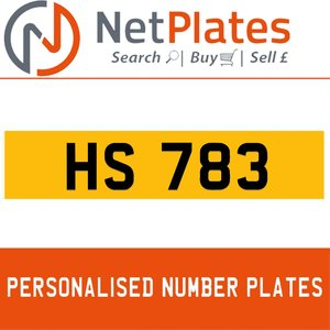 HS 783 Private Number Plate from NetPlates Ltd