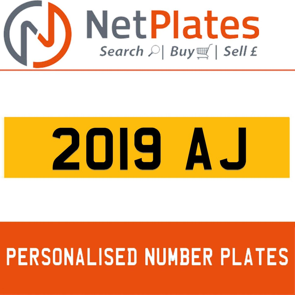 1900 2019 AJ Private Number Plate from NetPlates Ltd For Sale (picture 1 of 1)