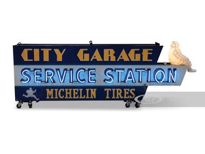 City Garage Service Station Michelin Tires Double-Sided Neon