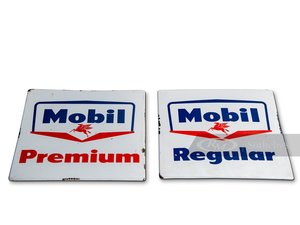 Picture of Mobil Premium and Mobil Regular Porcelain Signs For Sale by Auction