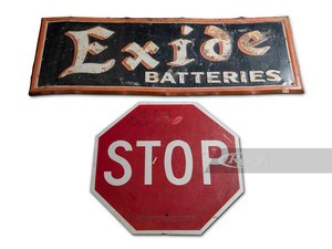 Exide Batteries Painted Tin Sign and Stop Sign