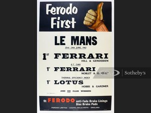 Picture of Ferodo First at LeMans June 1962, Original Advertising Poste For Sale by Auction