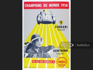 Picture of World Championship 1958, Original Shell Oil Advertising Post For Sale by Auction