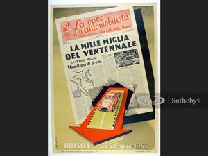 Picture of 1953 Mille Miglia Original Event Poster For Sale by Auction
