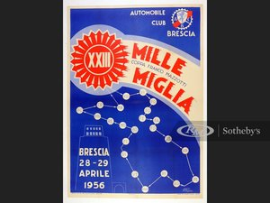 Picture of 1956 Mille Miglia Official Event Poster For Sale by Auction