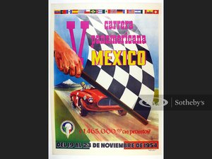 Picture of V Carrera Panamericana 1954 Original Event Poster For Sale by Auction