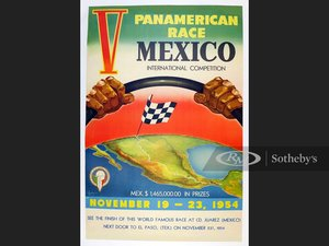 Picture of V Carrera Panamericana 1954 Official Event Poster in English For Sale by Auction
