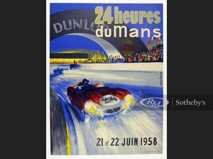 Picture of 1958 LeMans Original Event Poster For Sale by Auction