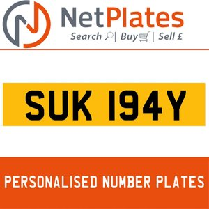 SUK 194Y Private Number Plate from NetPlates Ltd