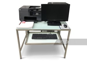 Dell Computer and HP Printer with Desk