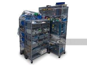 Three Racks of Assorted Fasteners and Hardware