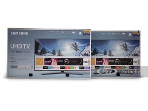 Two 75 in. Samsung UHD TVs with Wall Mounts
