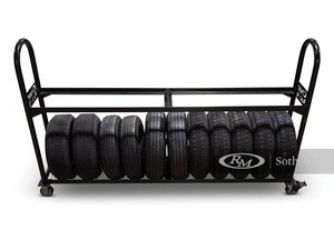 Custom Tire Rack with Assorted Tires