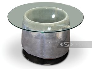 Jet Engine Inlet Glass Cocktail Table