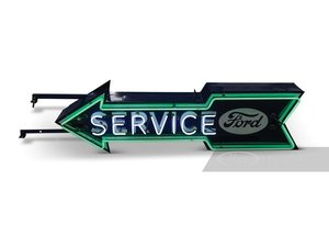 Ford Service Arrow Double-Sided Neon Porcelain Sign with Mou