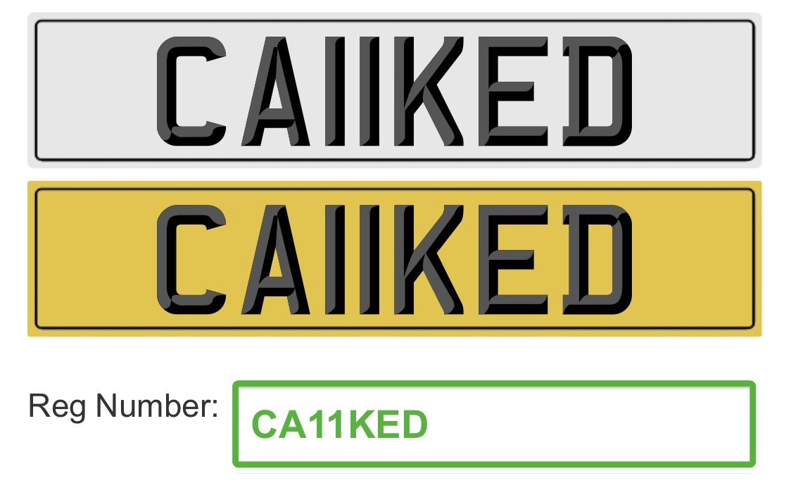 2011 CA11KED Cherished reg, Ideal 'CAKED' private plate For Sale (picture 2 of 2)
