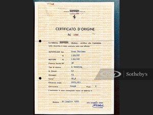 Ferrari 250 Pinin Farina Coupe Certificate of Origin, Chassi