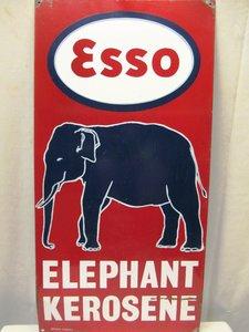VINTAGE GARAGE ENAMEL SIGN INDIAN ESSO ELEPHANT KEROSENE