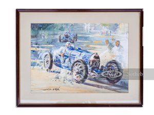Picture of Ren Dreyfus, 1929 Monaco Grand Prix Watercolor by Alfredo de For Sale by Auction