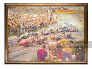 Picture of 1966 US Grand Prix Oil Painting by Alfredo de la Mara, 1995 For Sale by Auction