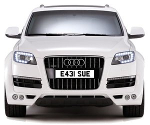 E431 SUE PERSONALISED PRIVATE CHERISHED DVLA NUMBER PLATE FO