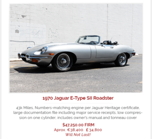 Picture of 1970 Jaguar E-Type Roadster Convertible Correct LHD $47.2k For Sale