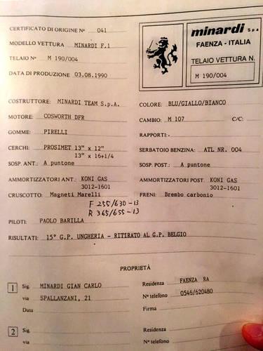 1990 Minardi M190 Formula1 - Pierluigi Martini-Paolo Barilla For Sale (picture 3 of 6)
