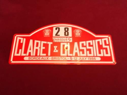 1986 Claret Classics Tour Plaque. For Sale (picture 1 of 1)